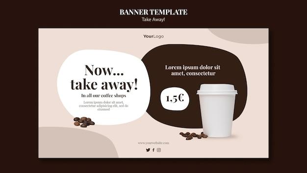 Plantilla de banner horizontal para café para llevar