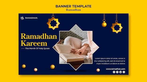Plantilla de banner horizontal de celebración de ramadán