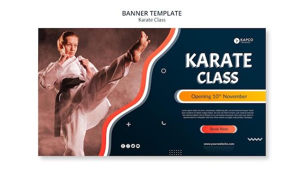 Plantilla de banner horizontal para clase de karate femenino