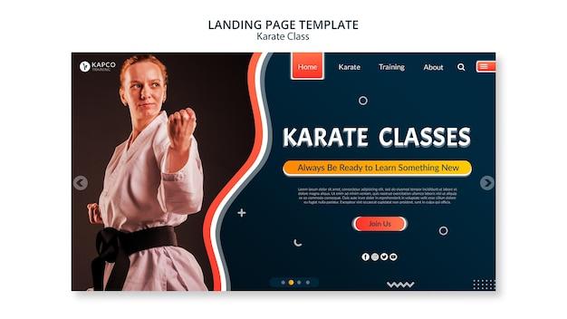 Plantilla de banner horizontal para clases de karate femenino.