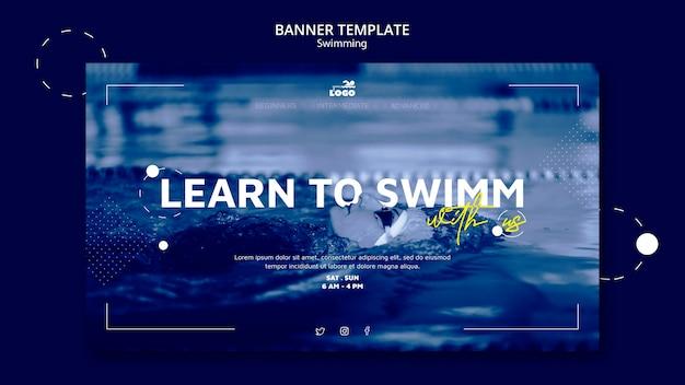 Plantilla de banner horizontal de clases de natación