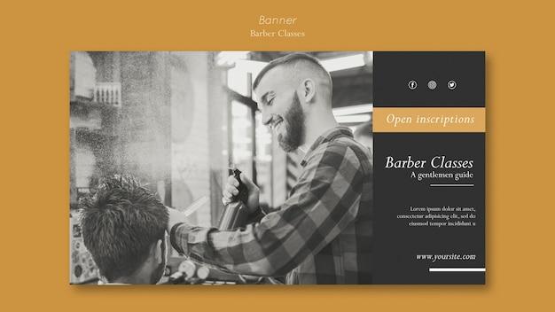 Plantilla de banner horizontal para clases de peluquero.