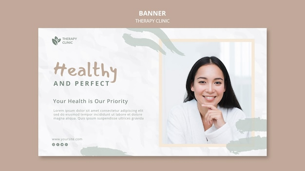 Plantilla de banner horizontal de clínica de terapia