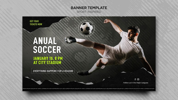 Plantilla de banner horizontal para club de fútbol