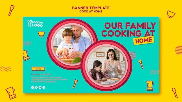 Plantilla de banner horizontal para cocinar en casa