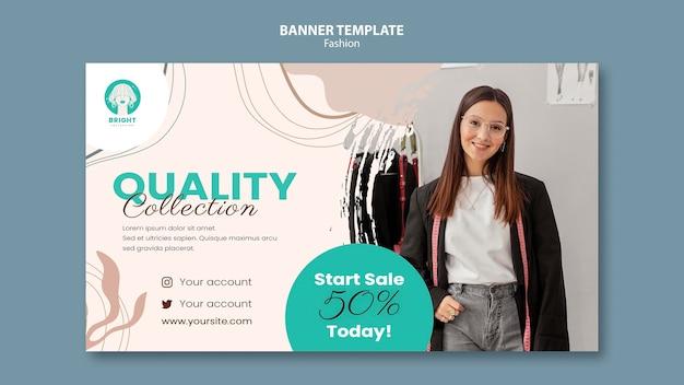Plantilla de banner horizontal para colección de moda