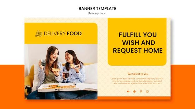 Plantilla de banner horizontal de comida a domicilio