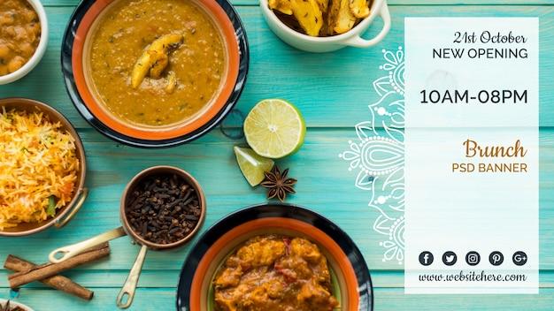Plantilla de banner horizontal de comida hindú