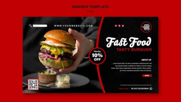 Plantilla de banner horizontal de comida rápida
