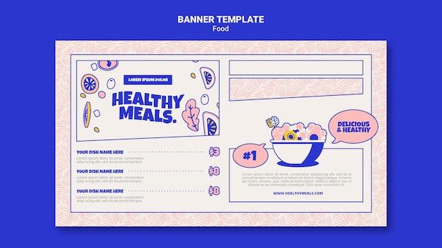 Plantilla de banner horizontal para comidas saludables