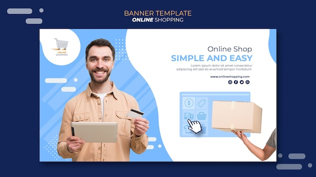 Plantilla de banner horizontal para compras en línea