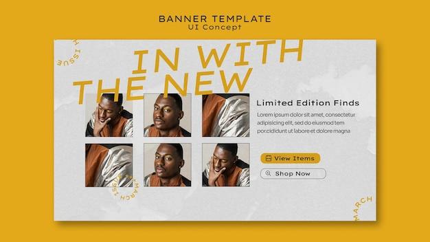 Plantilla de banner horizontal de concepto de interfaz de usuario