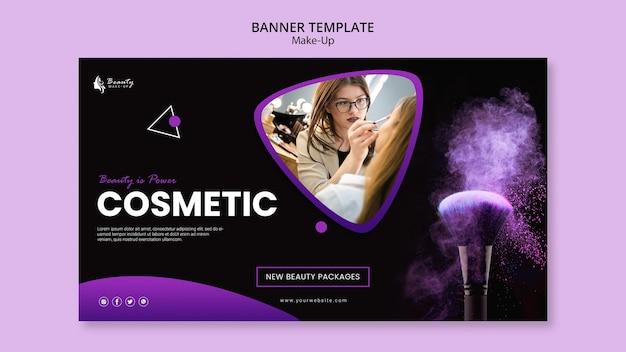 Plantilla de banner horizontal de concepto de maquillaje