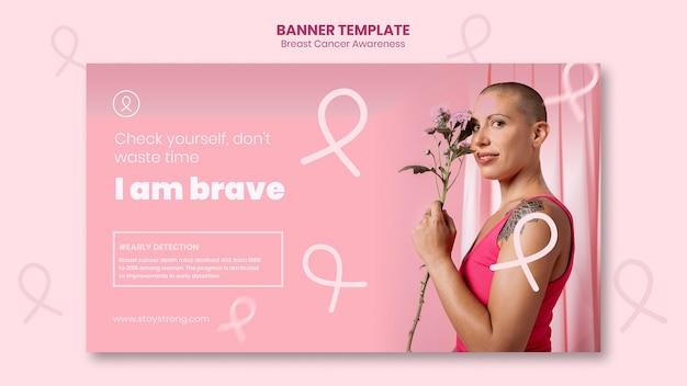 Plantilla de banner horizontal de concientización sobre el cáncer de mama