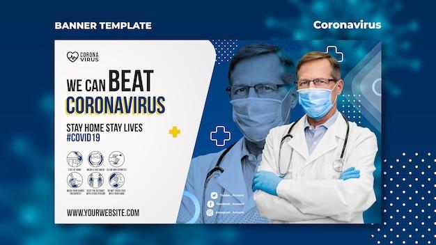 Plantilla de banner horizontal para concientización sobre el coronavirus