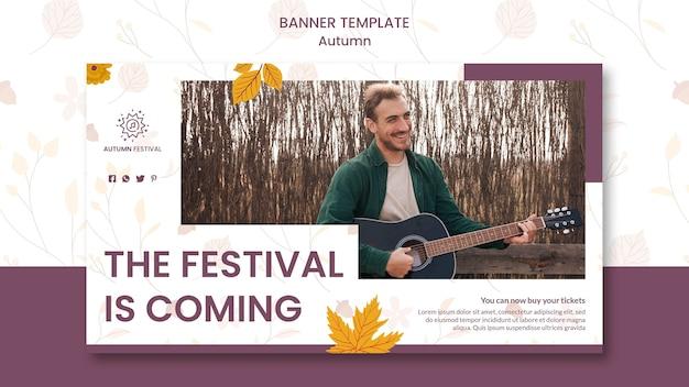 Plantilla de banner horizontal para concierto de otoño