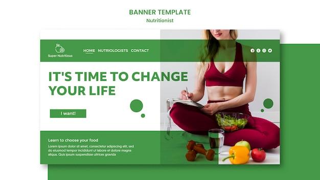 Plantilla de banner horizontal con consejos nutricionistas