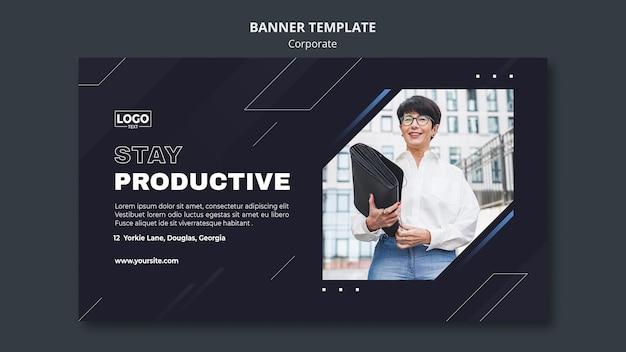 Plantilla de banner horizontal para corporación empresarial profesional