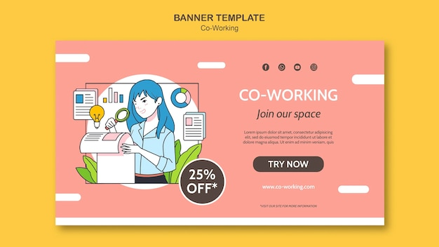 Plantilla de banner horizontal de coworking