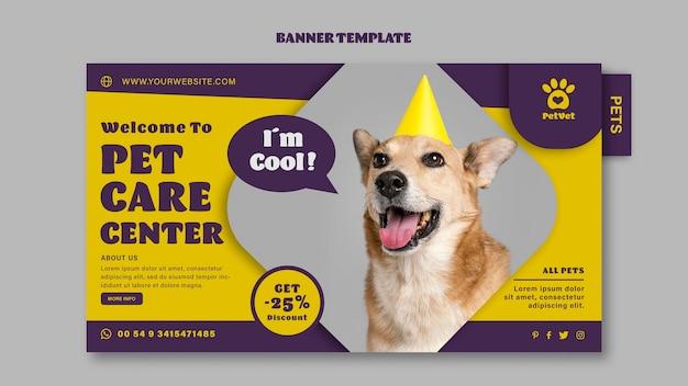 Plantilla de banner horizontal de cuidado de mascotas
