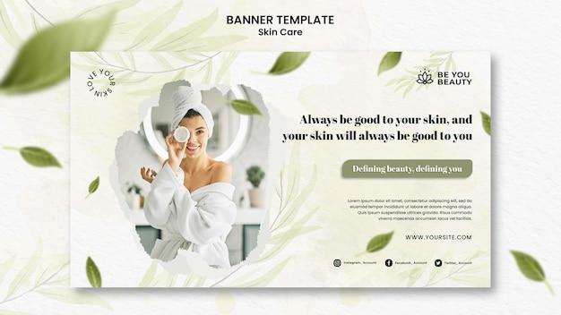 Plantilla de banner horizontal para el cuidado de la piel