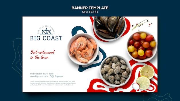 Plantilla de banner horizontal de deliciosa comida de mar