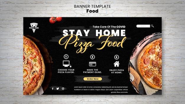 Plantilla de banner horizontal de deliciosa pizza