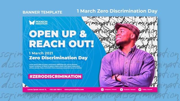 Plantilla de banner horizontal del día de cero discriminación