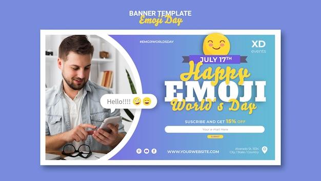 Plantilla de banner horizontal del día de emoji