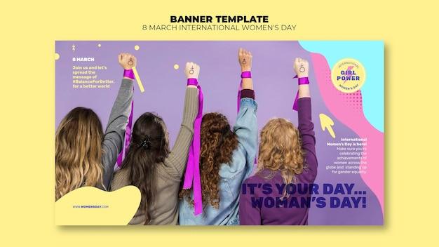 Plantilla de banner horizontal del día de la mujer hermosa con foto