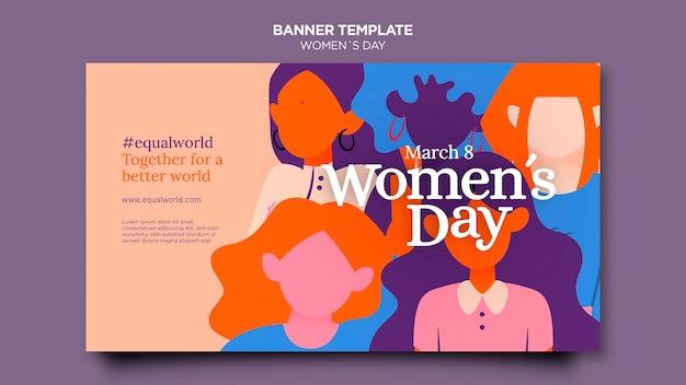 Plantilla de banner horizontal del día de la mujer hermosa ilustrada