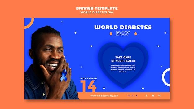 Plantilla de banner horizontal del día mundial de la diabetes