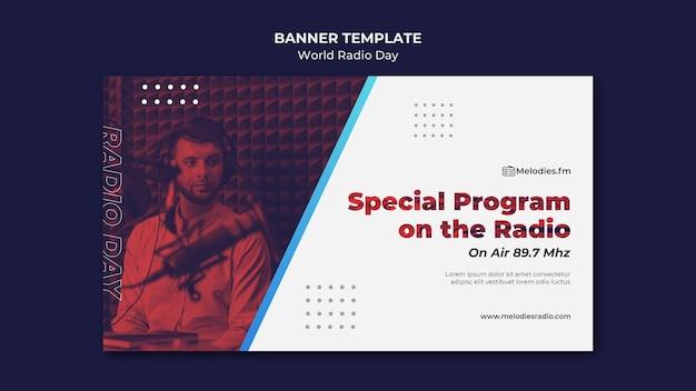 Plantilla de banner horizontal para el día mundial de la radio con locutor masculino