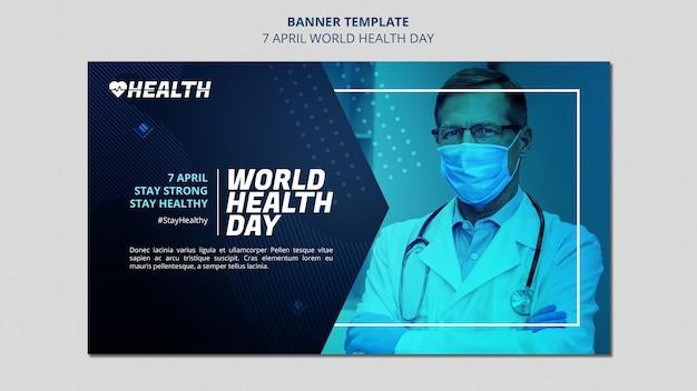 Plantilla de banner horizontal del día mundial de la salud con foto
