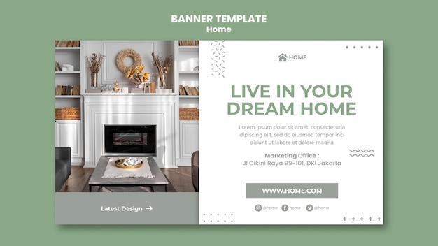 Plantilla de banner horizontal para el diseño de interiores de casas nuevas