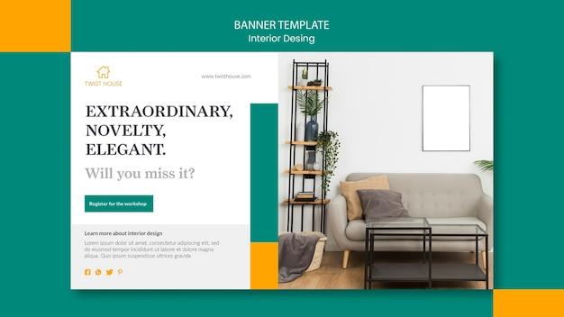 Plantilla de banner horizontal para diseño de interiores.