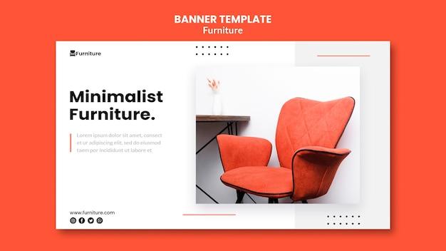 Plantilla de banner horizontal para diseños de muebles minimalistas.
