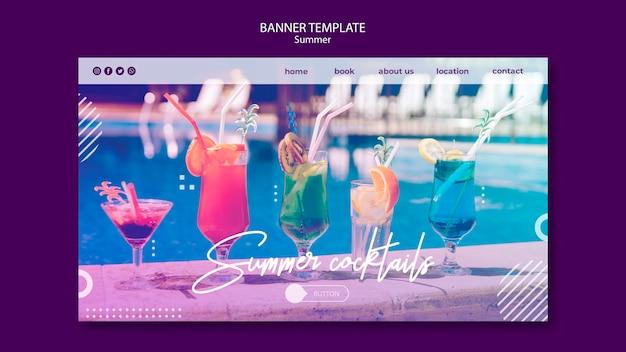 Plantilla de banner horizontal de diversión de verano con foto
