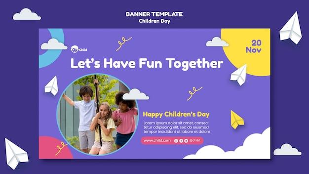 Plantilla de banner horizontal divertido para el día de los niños coloridos