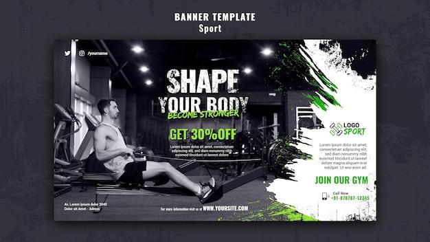 Plantilla de banner horizontal para ejercicio y entrenamiento de gimnasia.