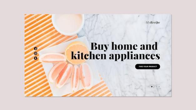 Plantilla de banner horizontal para electrodomésticos y electrodomésticos de cocina.