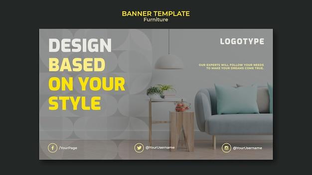Plantilla de banner horizontal para empresa de diseño de interiores