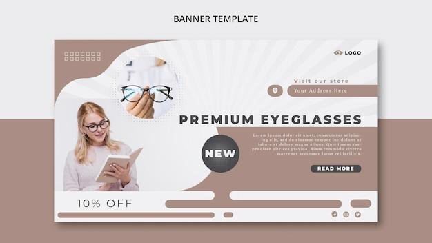 Plantilla de banner horizontal para empresa de gafas