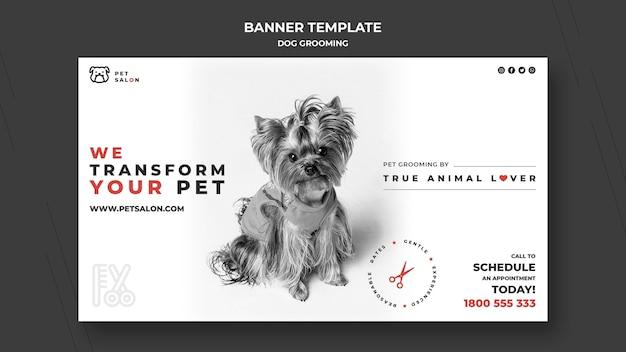 Plantilla de banner horizontal para empresa de peluquería de mascotas