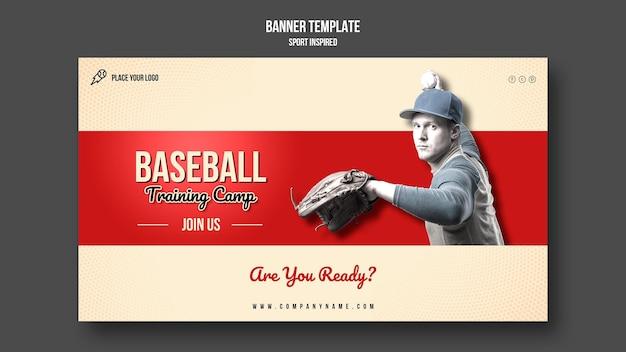 Plantilla de banner horizontal de entrenamiento de béisbol