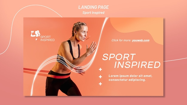 Plantilla de banner horizontal para entrenamiento físico.