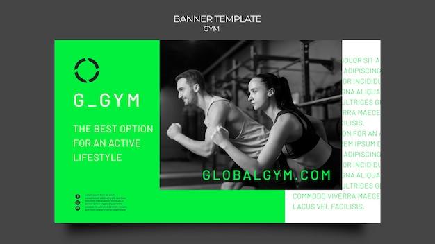Plantilla de banner horizontal de entrenamiento de gimnasio