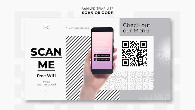 Plantilla de banner horizontal para escaneo de código qr con teléfono inteligente