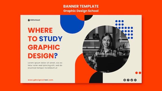 Plantilla de banner horizontal para escuela de diseño gráfico