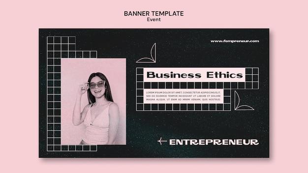 Plantilla de banner horizontal de evento empresarial